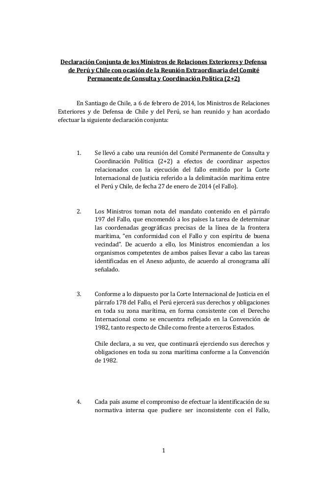 Declaración Conjunta de los Ministros de Relaciones Exteriores y Defensa de Perú y Chile con ocasión de la Reunión Extraor...