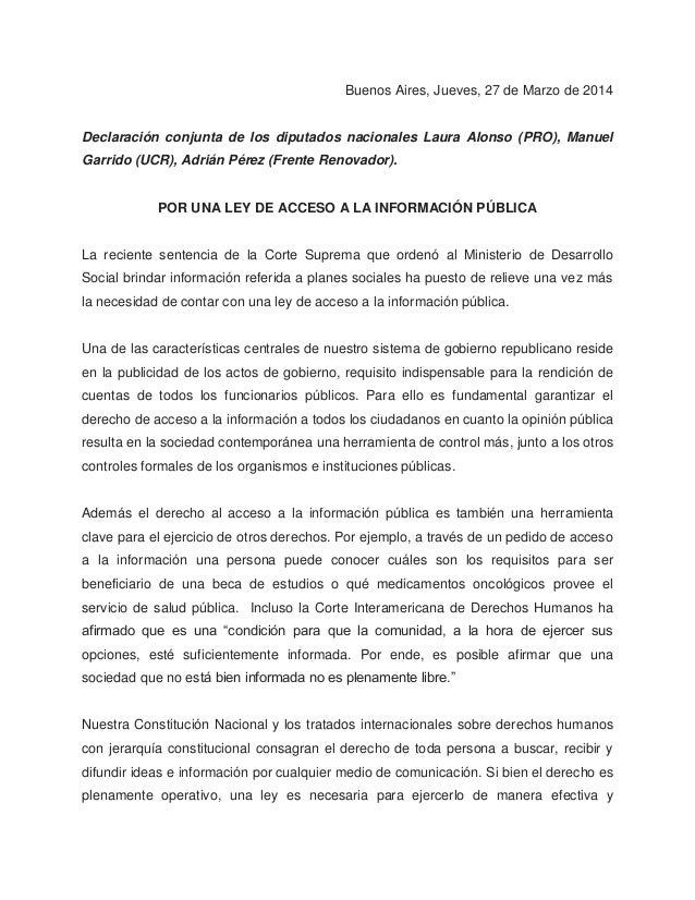Declaración conjunta por Ley de Acceso a la Información Pública