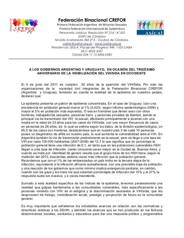 Federación Binacional CREFOR Primera Federación Argentina de Minorías Sexuales Primera Federación Internacional de Sudamér...