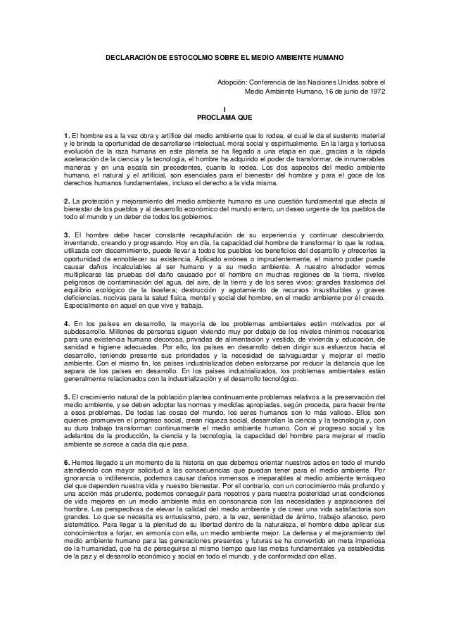DECLARACIÓN DE ESTOCOLMO SOBRE EL MEDIO AMBIENTE HUMANOAdopción: Conferencia de las Naciones Unidas sobre elMedio Ambiente...
