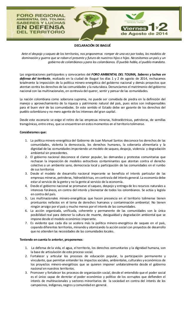 Declaración Foro Ambiental del Tolima, Saberes y luchas en defensa del territorio,
