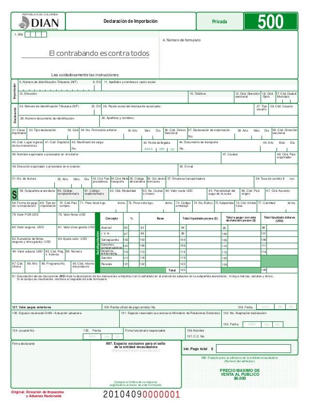 formulario exportacion: