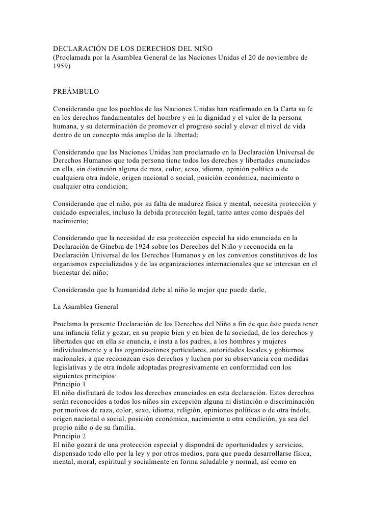 DECLARACIÓN DE LOS DERECHOS DEL NIÑO(Proclamada por la Asamblea General de las Naciones Unidas el 20 de noviembre de1959)P...
