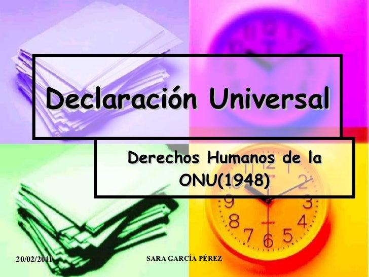 Declaración Universal Derechos Humanos de la ONU(1948)
