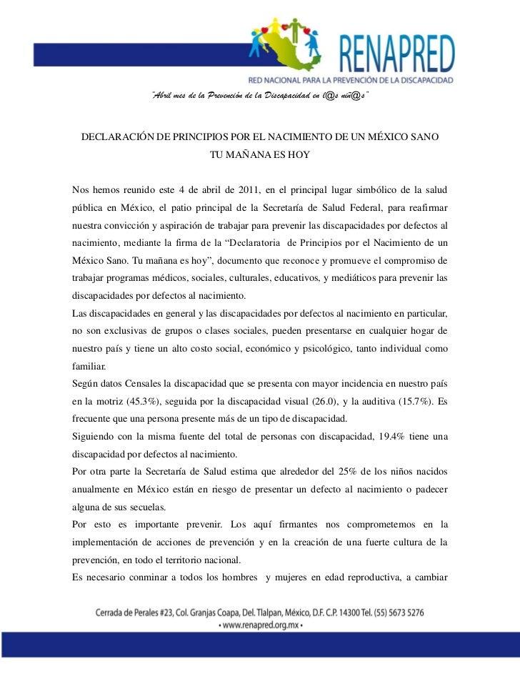 """""""Abril mes de la Prevención de la Discapacidad en l@s niñ@s""""  DECLARACIÓN DE PRINCIPIOS POR EL NACIMIENTO DE UN MÉXICO SAN..."""