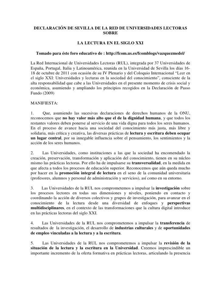 DECLARACIÓN DE SEVILLA DE LA RED DE UNIVERSIDADES LECTORAS                           SOBRE                           LA LE...