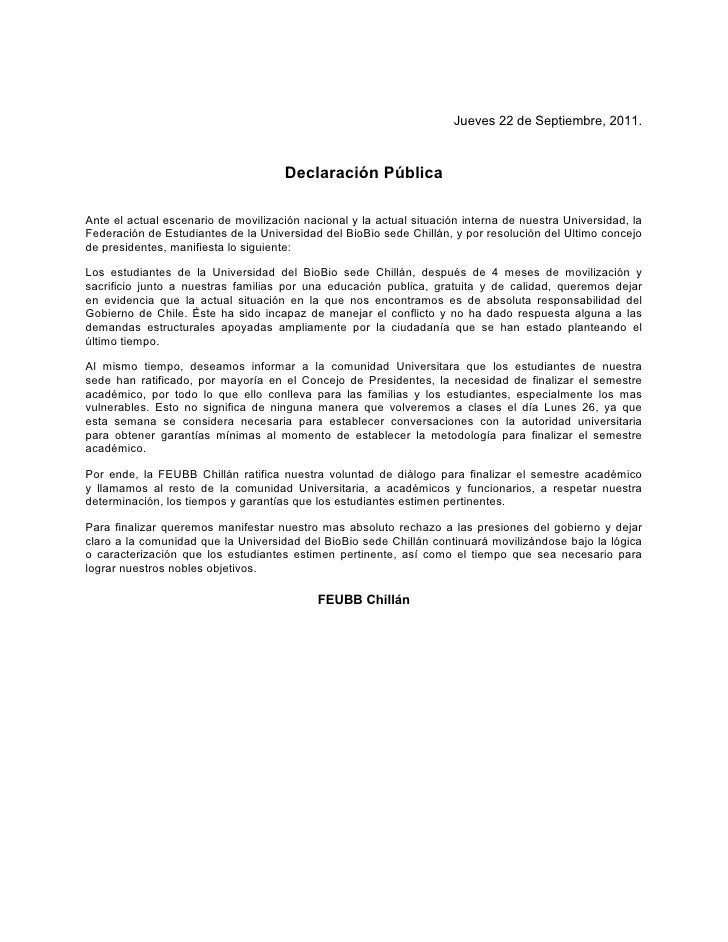Declaración feubb chillán 22 sept