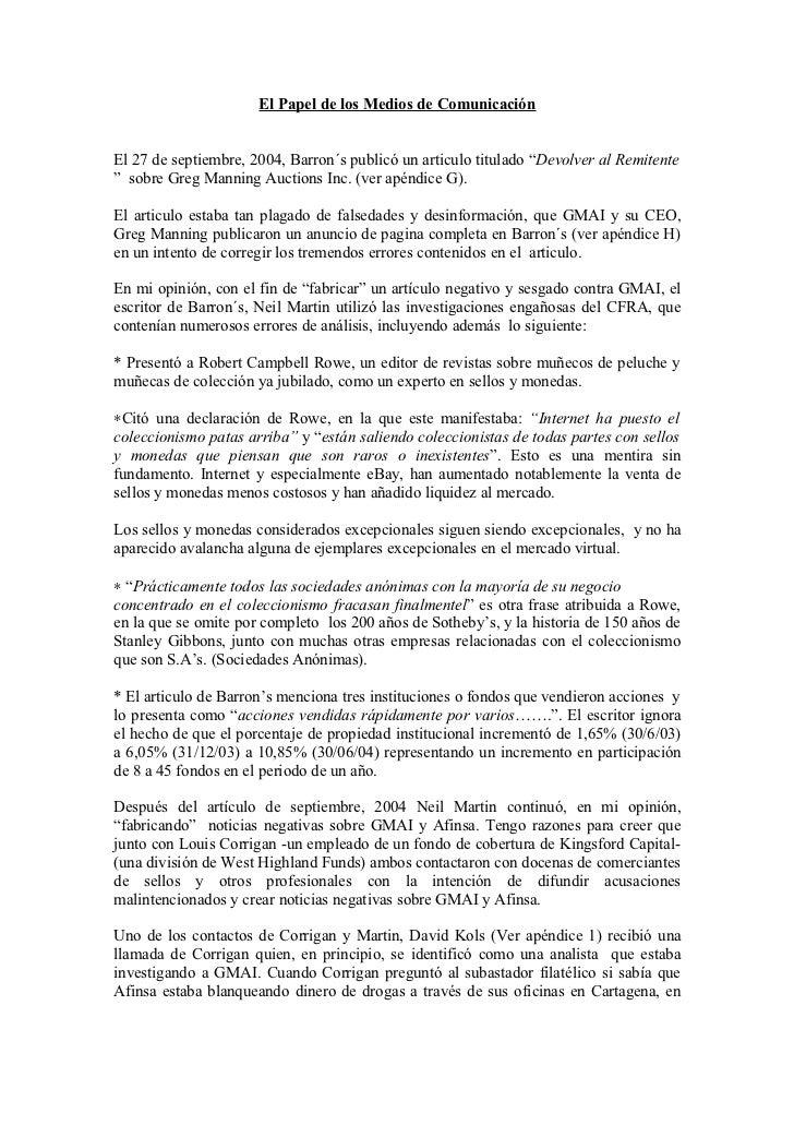 """El Papel de los Medios de ComunicaciónEl 27 de septiembre, 2004, Barron´s publicó un articulo titulado """"Devolver al Remite..."""