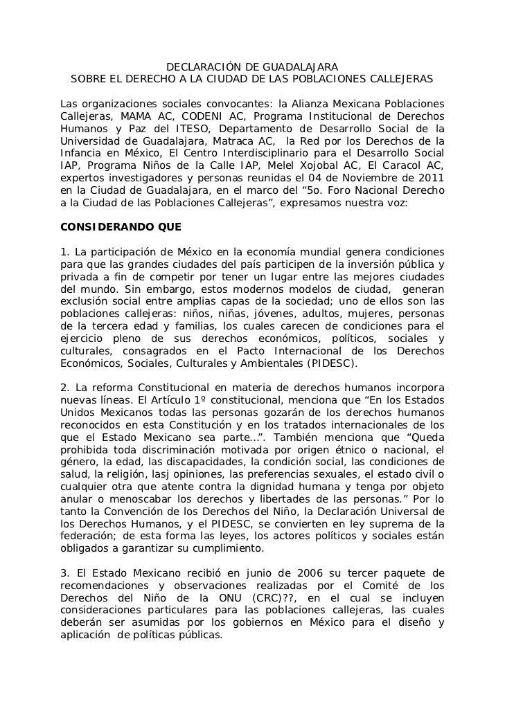 DECLARACIÓN DE GUADALAJARA  SOBRE EL DERECHO A LA CIUDAD DE LAS POBLACIONES CALLEJERASLas organizaciones sociales convocan...