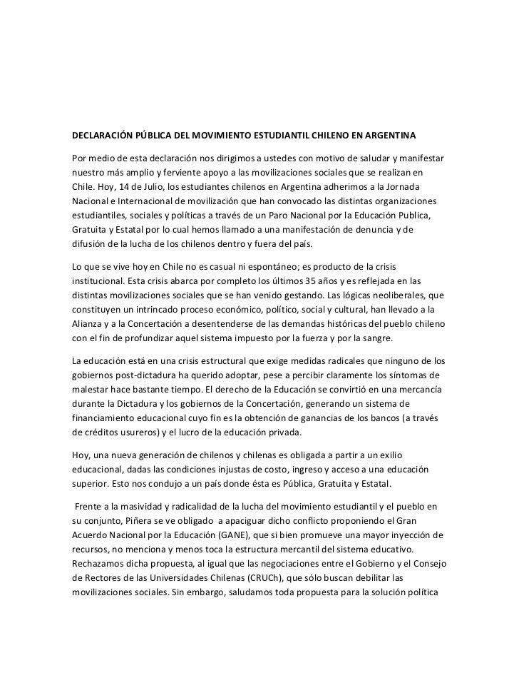 DECLARACIÓN PÚBLICA DEL MOVIMIENTO ESTUDIANTIL CHILENO EN ARGENTINA<br />Por medio de esta declaración nos dirigimos a ust...