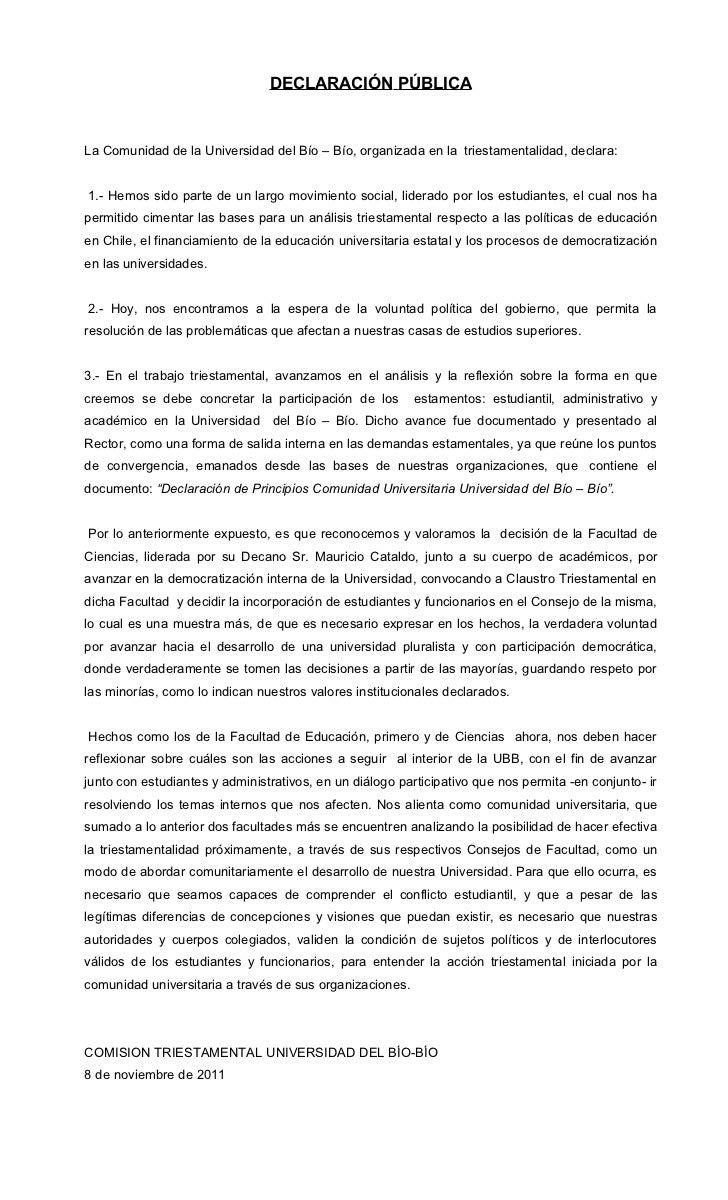 Declaración pública ubb