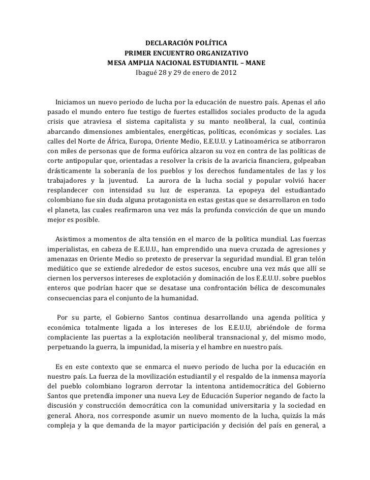 DECLARACIÓN POLÍTICA                       PRIMER ENCUENTRO ORGANIZATIVO                   MESA AMPLIA NACIONAL ESTUDIANTI...