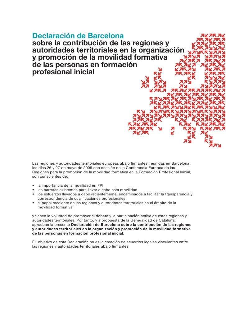 Declaración de Barcelona sobre la contribución de las regiones y autoridades territoriales en la organización y promoción ...