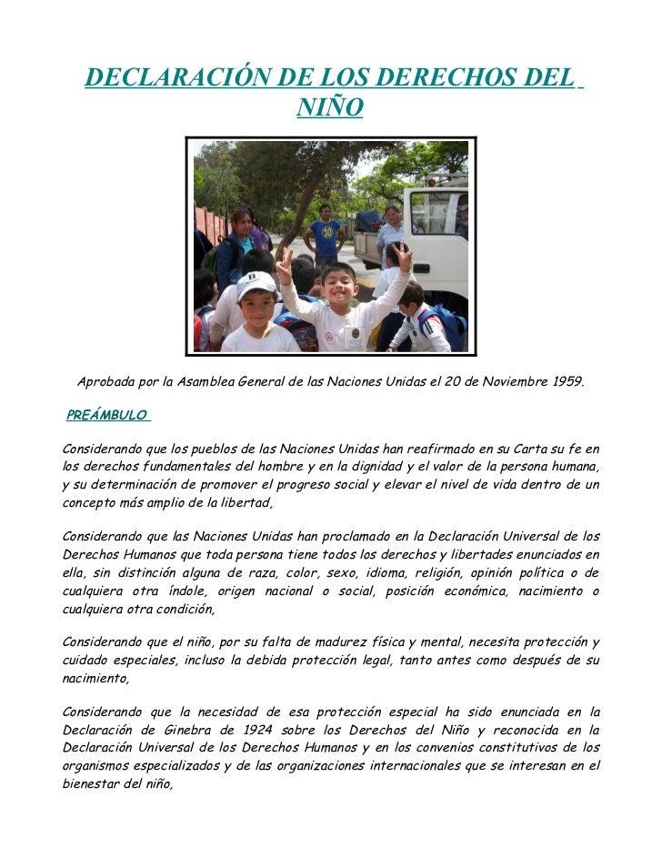 DECLARACIÓN DE LOS DERECHOS DEL                NIÑO  Aprobada por la Asamblea General de las Naciones Unidas el 20 de Novi...