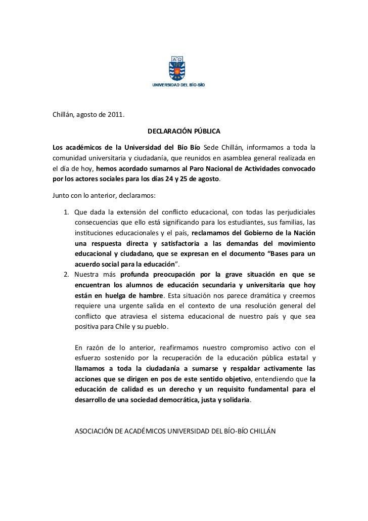 Declaracion asoc academicos 23 agosto 2011