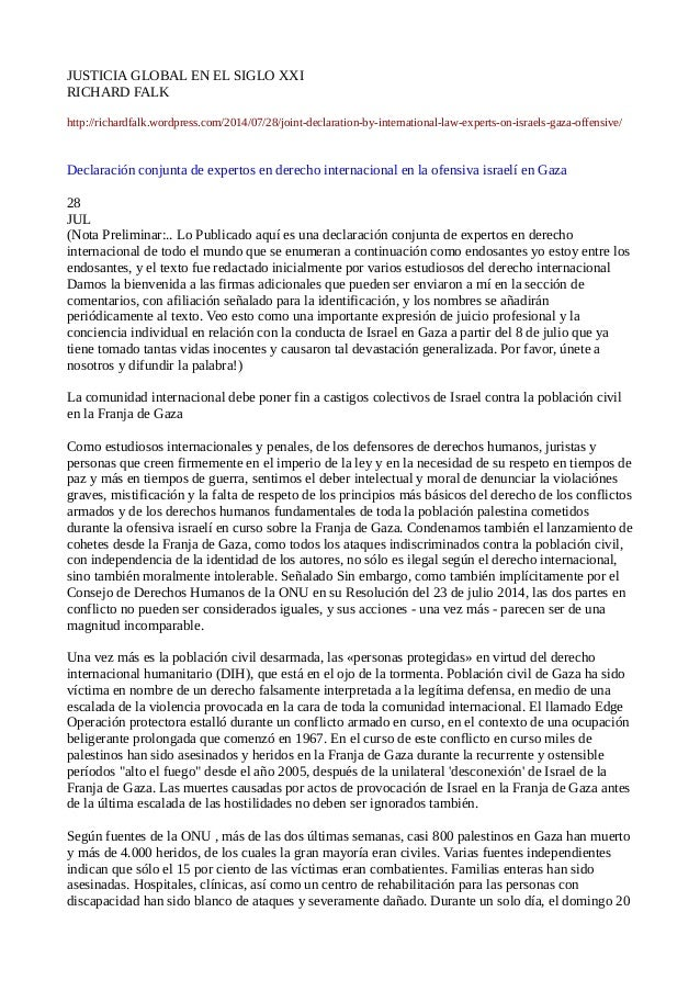 JUSTICIA GLOBAL EN EL SIGLO XXI RICHARD FALK http://richardfalk.wordpress.com/2014/07/28/joint-declaration-by-internationa...