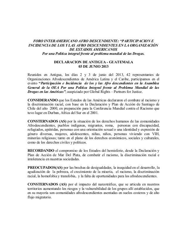 """FORO INTERAMERICANO AFRO DESCENDIENTE: """"PARTICIPACION EINCIDENCIA DE LOS Y LAS AFRO DESCENDIENTES EN LA ORGANIZACIÓNDE EST..."""