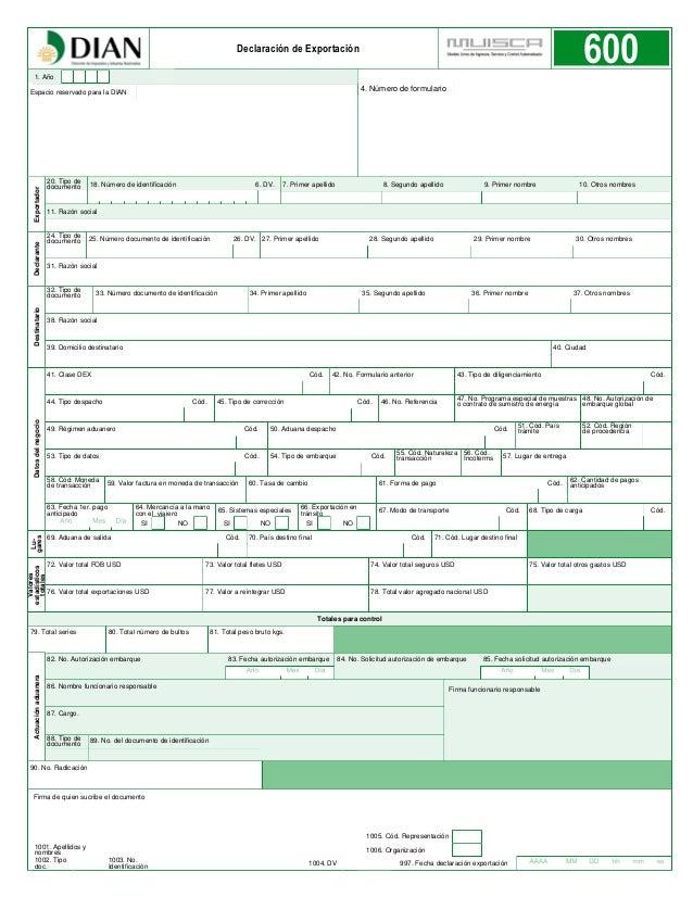 Declaracion de exportacion formulario 600