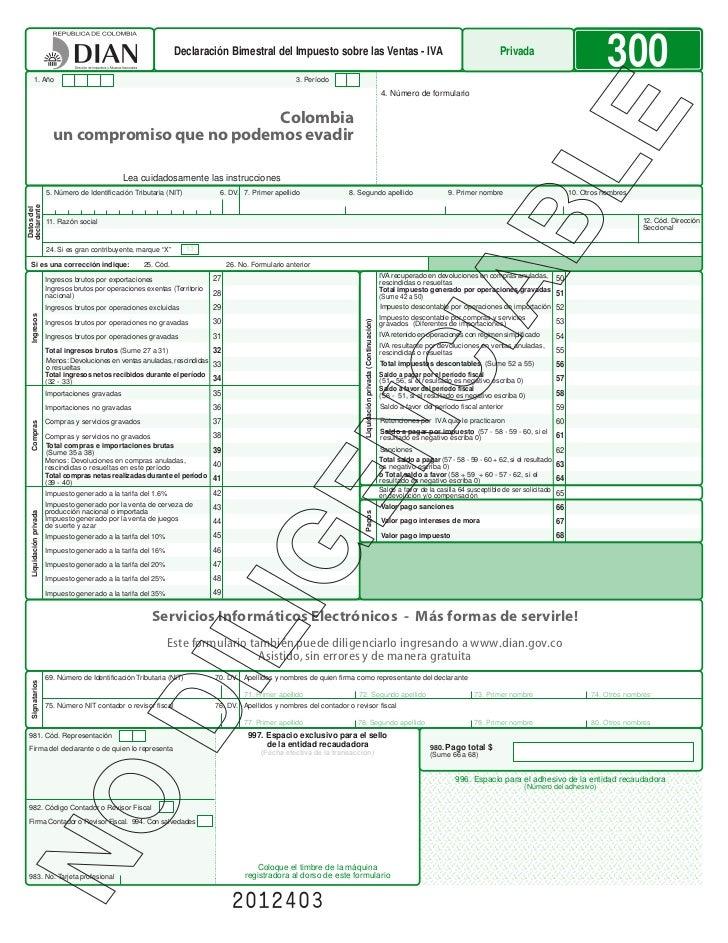 Declaración Bimestral del Impuesto sobre las Ventas - IVA                                                                 ...