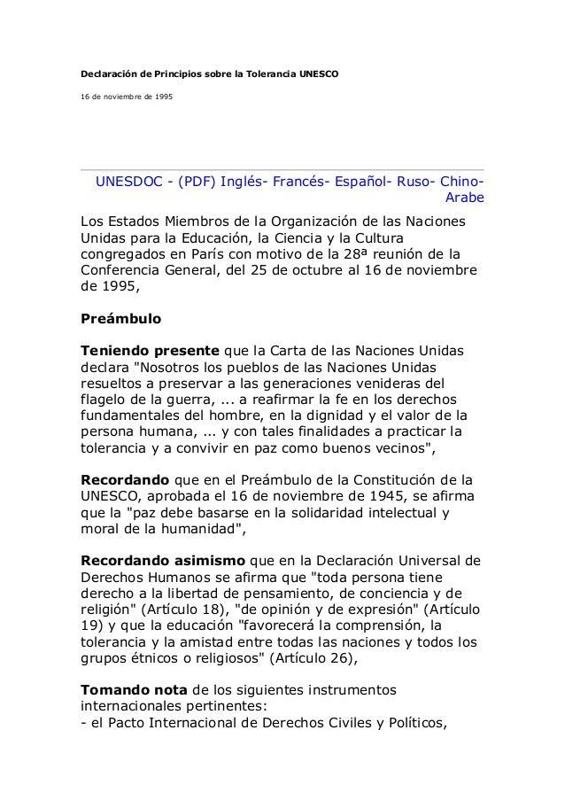 Declaración de Principios sobre la Tolerancia UNESCO16 de noviembre de 1995   UNESDOC - (PDF) Inglés- Francés- Español- Ru...