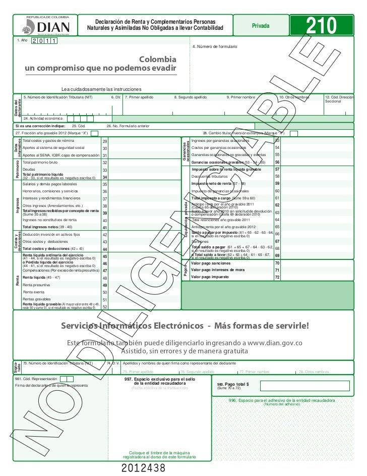 Declaracion de renta personas naturales  año 2012 F-210