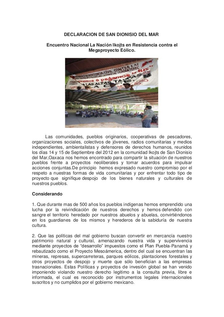 DECLARACION DE SAN DIONISIO DEL MAR       Encuentro Nacional La Nación Ikojts en Resistencia contra el                    ...