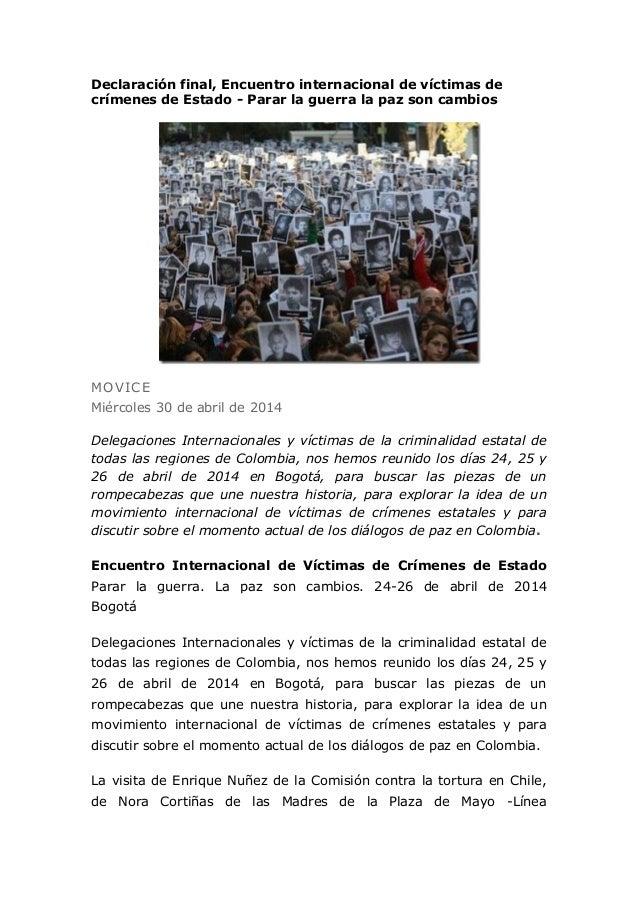 Declaración final, Encuentro internacional de víctimas de crímenes de Estado - Parar la guerra la paz son cambios