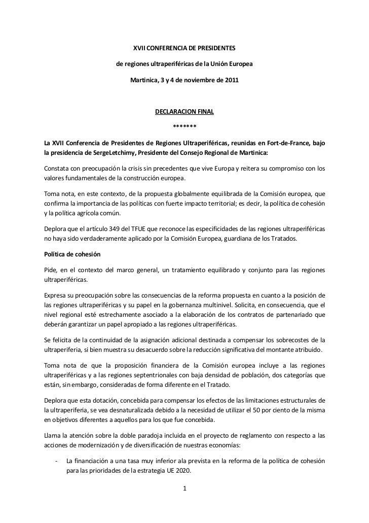 XVII CONFERENCIA DE PRESIDENTES                           de regiones ultraperiféricas de la Unión Europea                ...