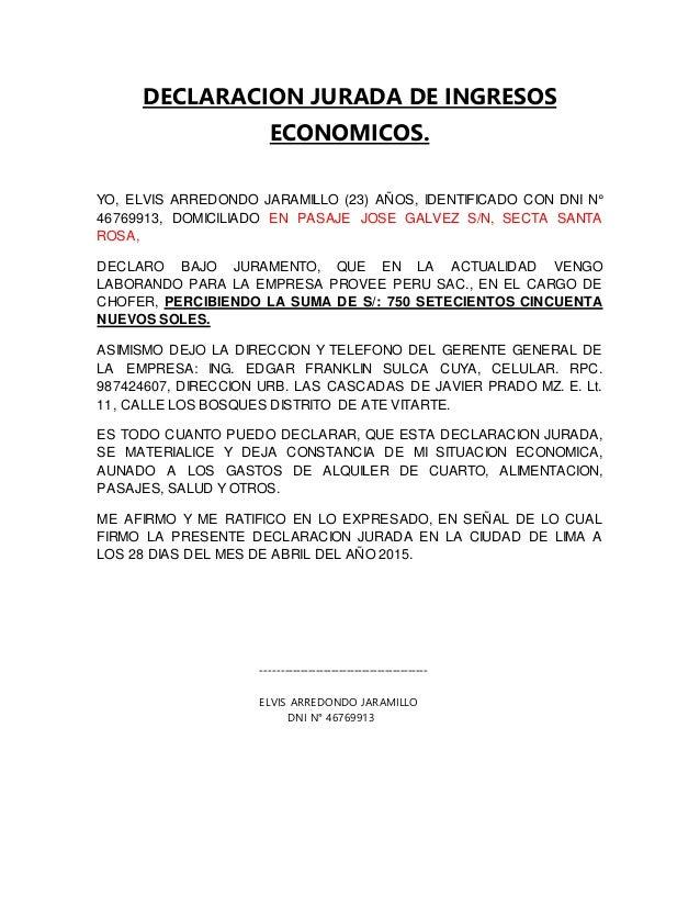 Declaracion jurada de ingresoseconomicos yo elvis arredondo jaramillo