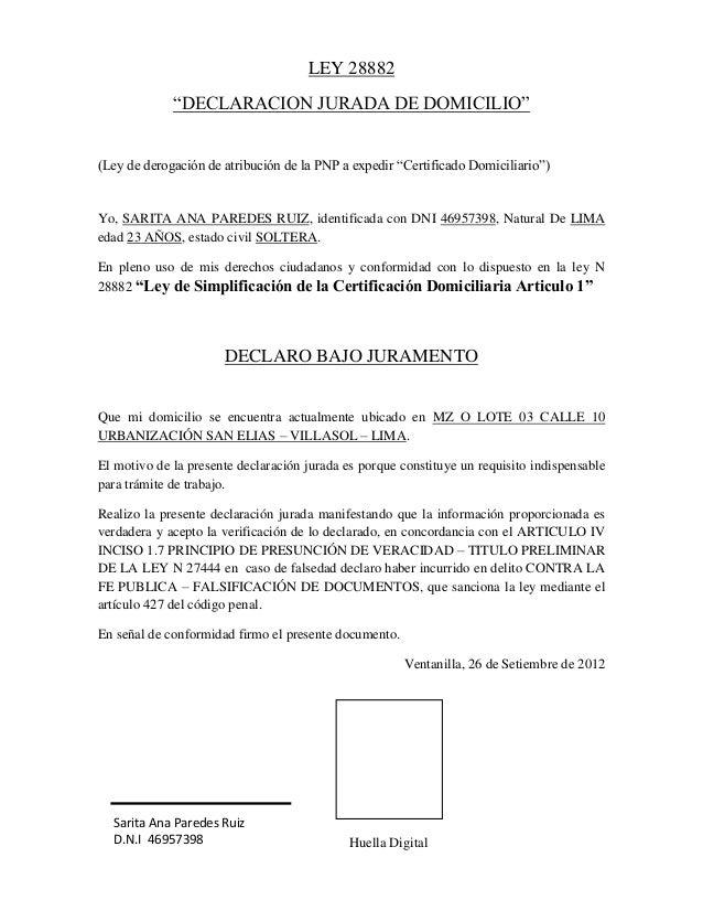 Jurada de domicilio ley de derogaci 243 n de atribuci 243 n de