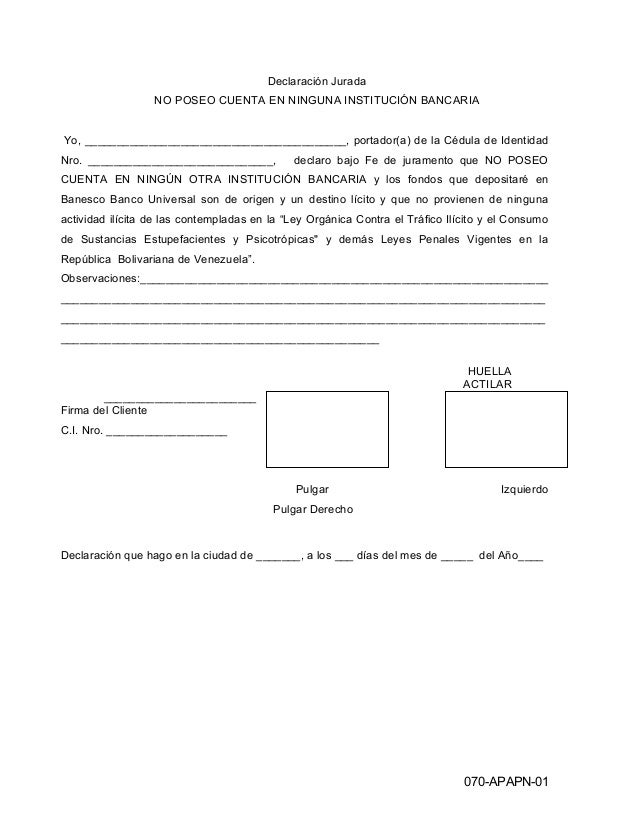 Declaración Jurada NO POSEO CUENTA EN NINGUNA INSTITUCIÓN BANCARIA Yo, _________________________________________, portador...