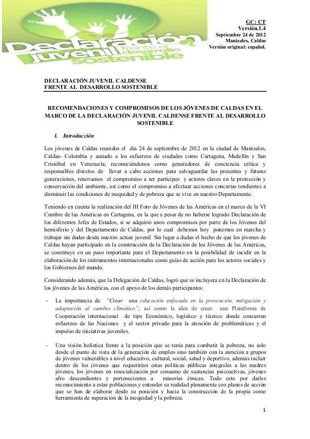 DECLARACIÓN JUVENIL CALDENSEFRENTE AL DESARROLLO SOSTENIBLERECOMENDACIONES Y COMMARCO DE LA DECLARACIÓN JUVENIL CALDENSE F...