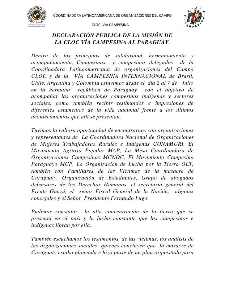 COORDINADORA LATINOAMERICANA DE ORGANIZACIONES DEL CAMPO                           CLOC- VÍA CAMPESINA        DECLARACIÓN ...