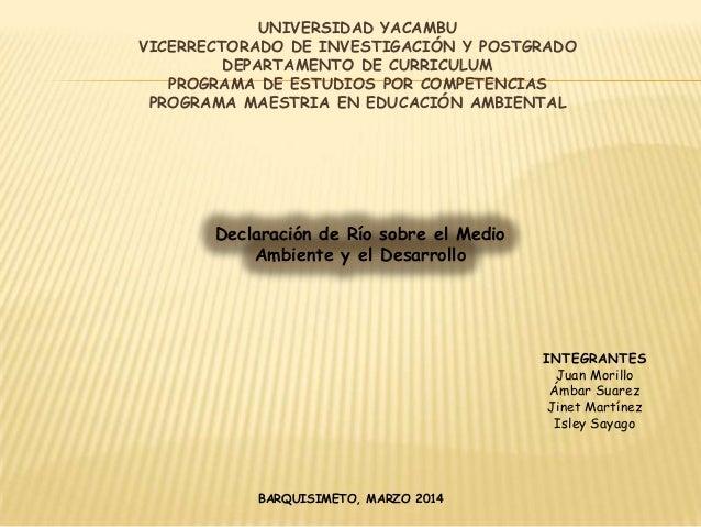 UNIVERSIDAD YACAMBU VICERRECTORADO DE INVESTIGACIÓN Y POSTGRADO DEPARTAMENTO DE CURRICULUM PROGRAMA DE ESTUDIOS POR COMPET...