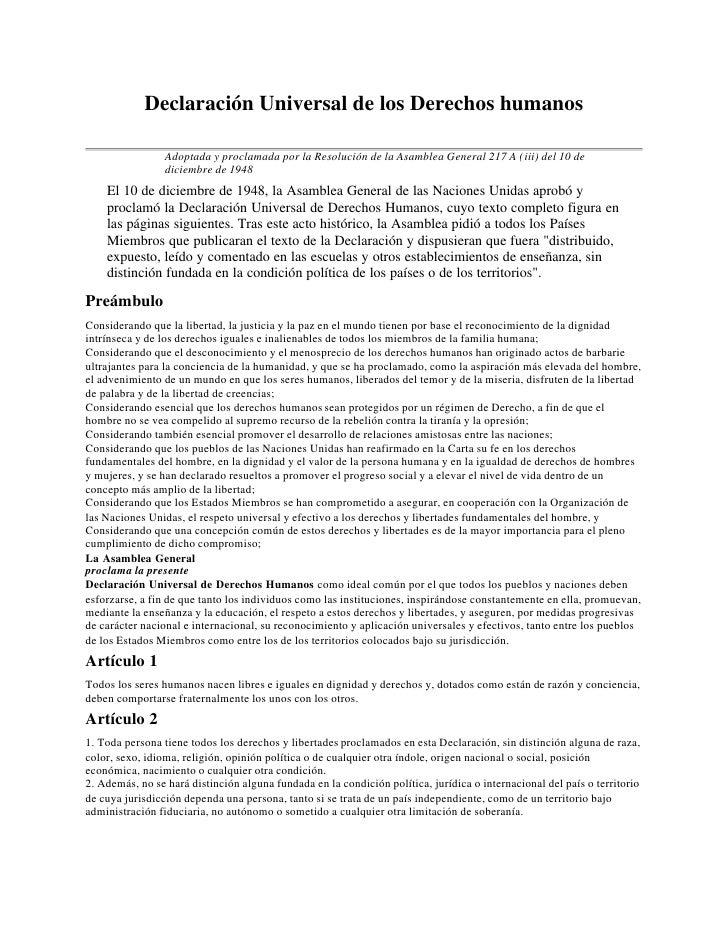 Declaración Universal de los Derechos humanos                 Adoptada y proclamada por la Resolución de la Asamblea Gener...