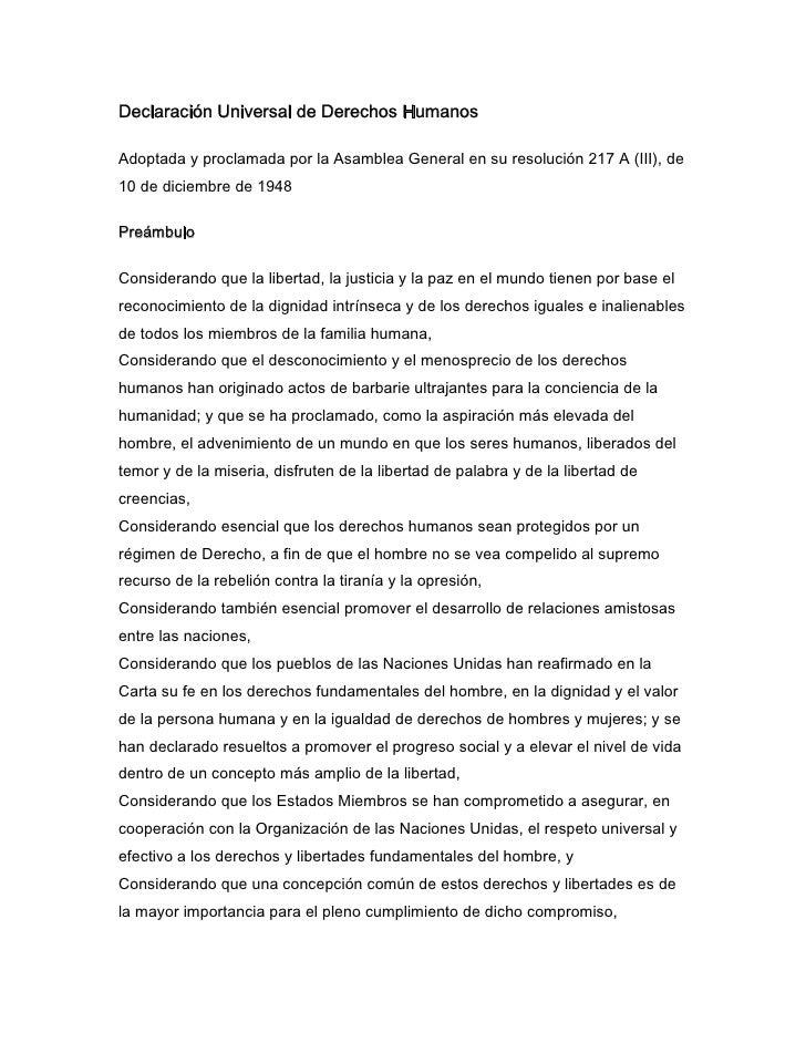 Declaración Universal de Derechos HumanosAdoptada y proclamada por la Asamblea General en su resolución 217 A (III), de10 ...