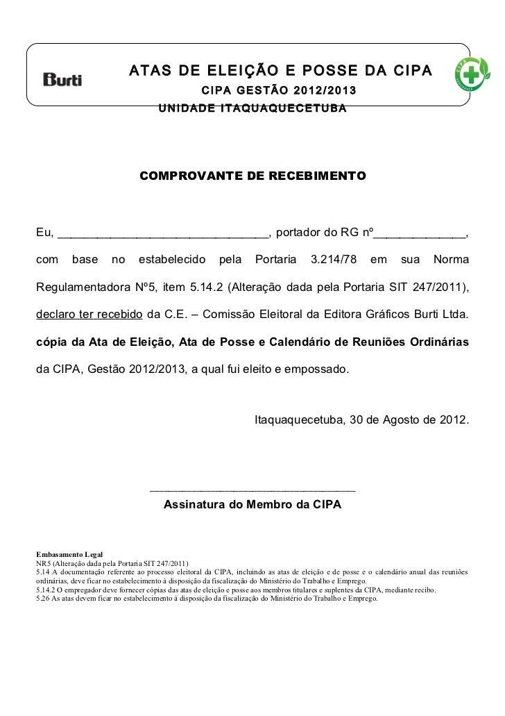 Declaração de recebimento das Atas da CIPA