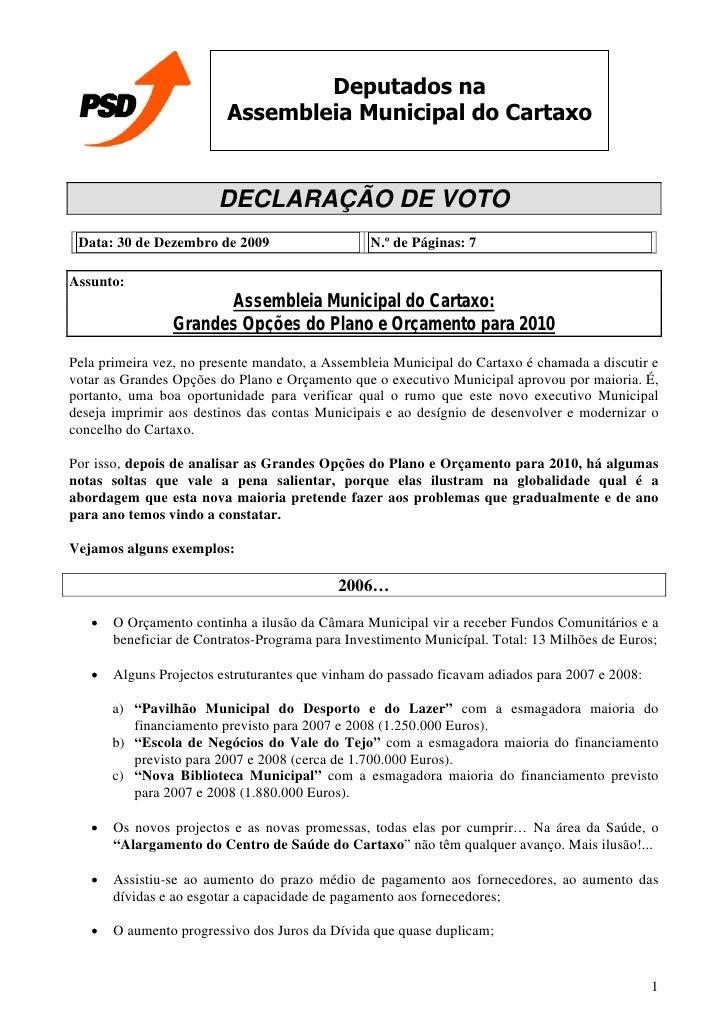 Declaracao De Voto Plano E Orcamento CM CARTAXO 2010 (30 Dez. 2009)