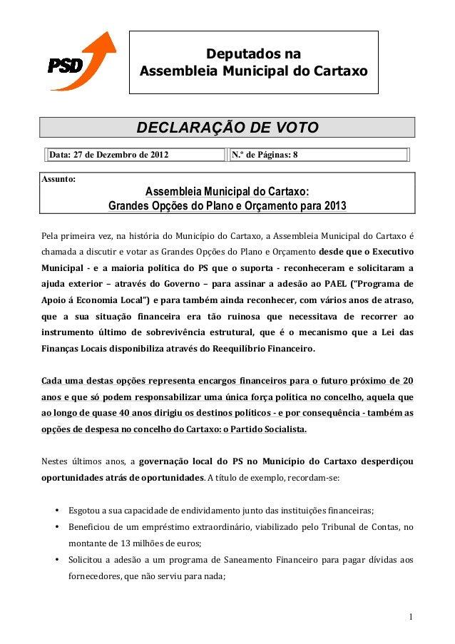 Deputados na                                       Assembleia Municipal do Cartaxo                                      DE...
