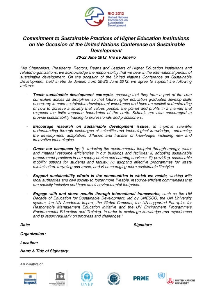 Commitment to Sustainable Practices of Higher Education Institutions   on the Occasion of the United Nations Conference on...