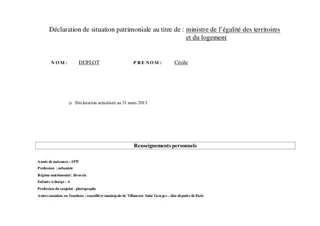 Déclaration de situation patrimoniale au titre de : ministre de l'égalité des territoires                                 ...