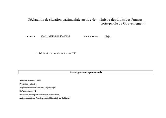 Déclaration de situation patrimoniale au titre de : ministre des droits des femmes,                                       ...