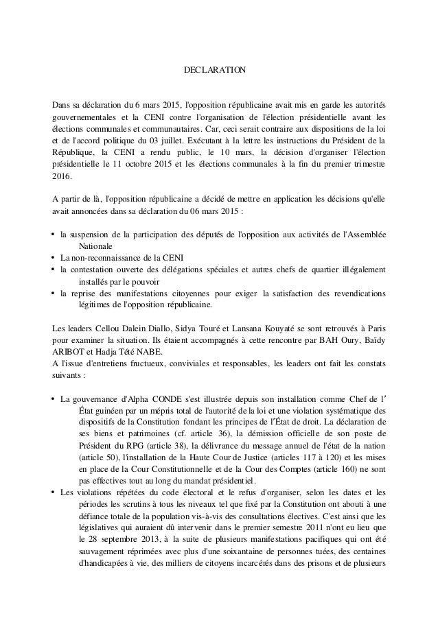 DECLARATION Dans sa déclaration du 6 mars 2015, l'opposition républicaine avait mis en garde les autorités gouvernementale...