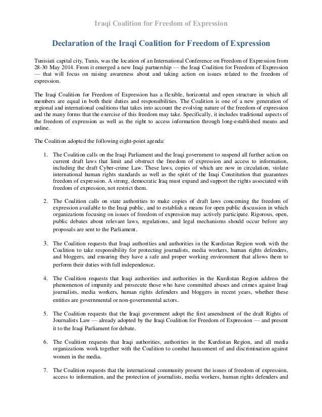 Iraqi Coalition for Freedom of Expression Declaration of the Iraqi Coalition for Freedom of Expression Tunisiati capital c...