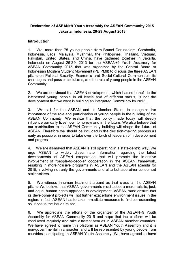 Declaration of ASEAN+9 Youth Assembly for ASEAN Community 2015 Jakarta, Indonesia, 26-29 August 2013 Introduction 1. We, m...