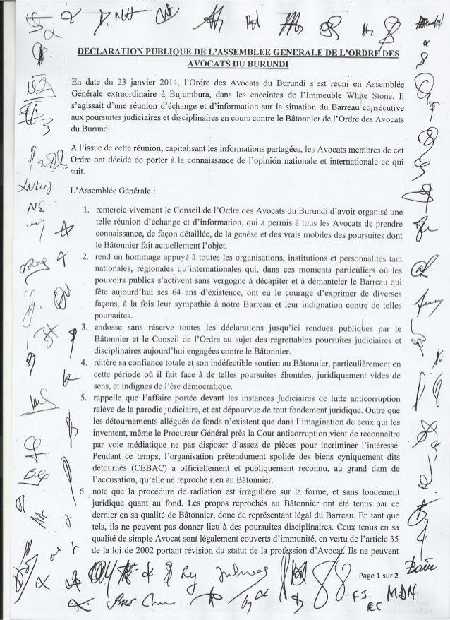 Burundi : le soutien de l'AG du barreau au bâtonnier Rufyikiri
