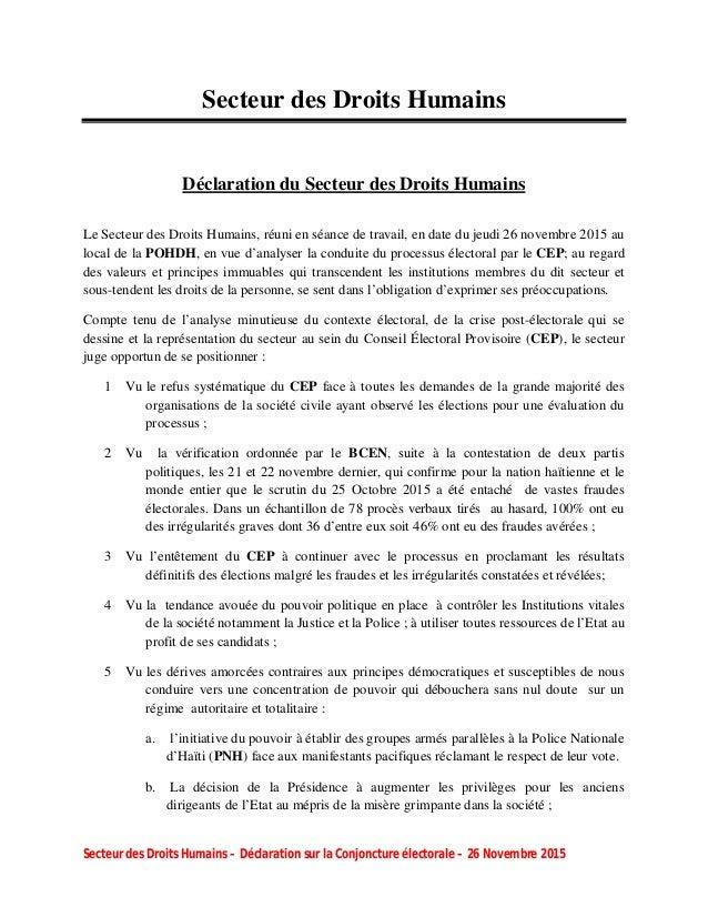 Secteur des Droits Humains – Déclaration sur la Conjoncture électorale – 26 Novembre 2015 Secteur des Droits Humains Décla...