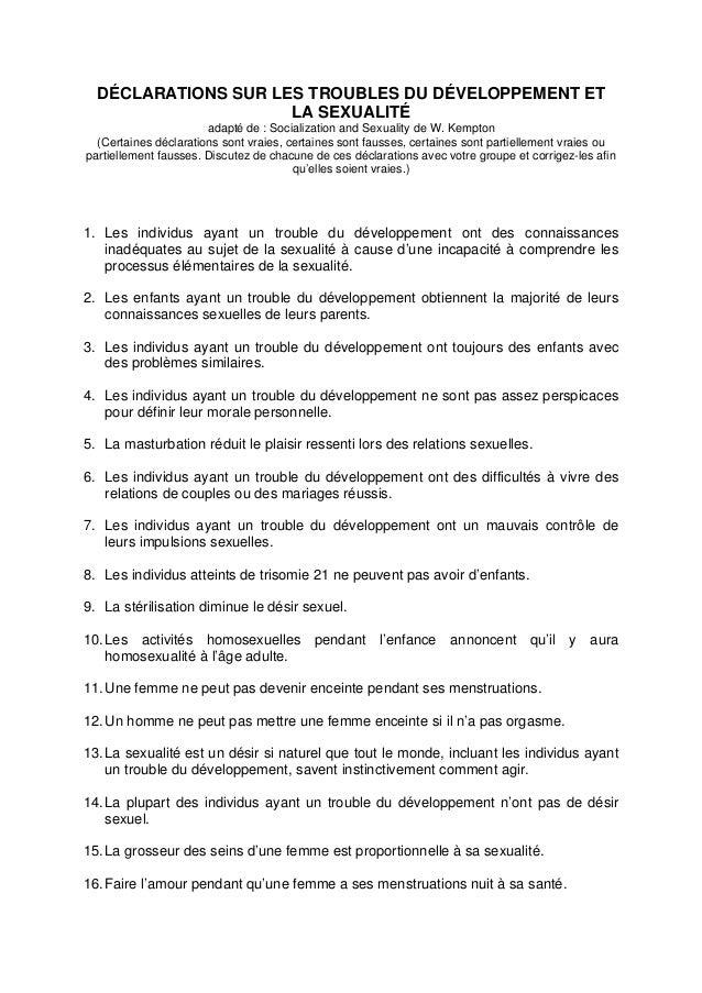 DÉCLARATIONS SUR LES TROUBLES DU DÉVELOPPEMENT ET                     LA SEXUALITÉ                       adapté de : Socia...