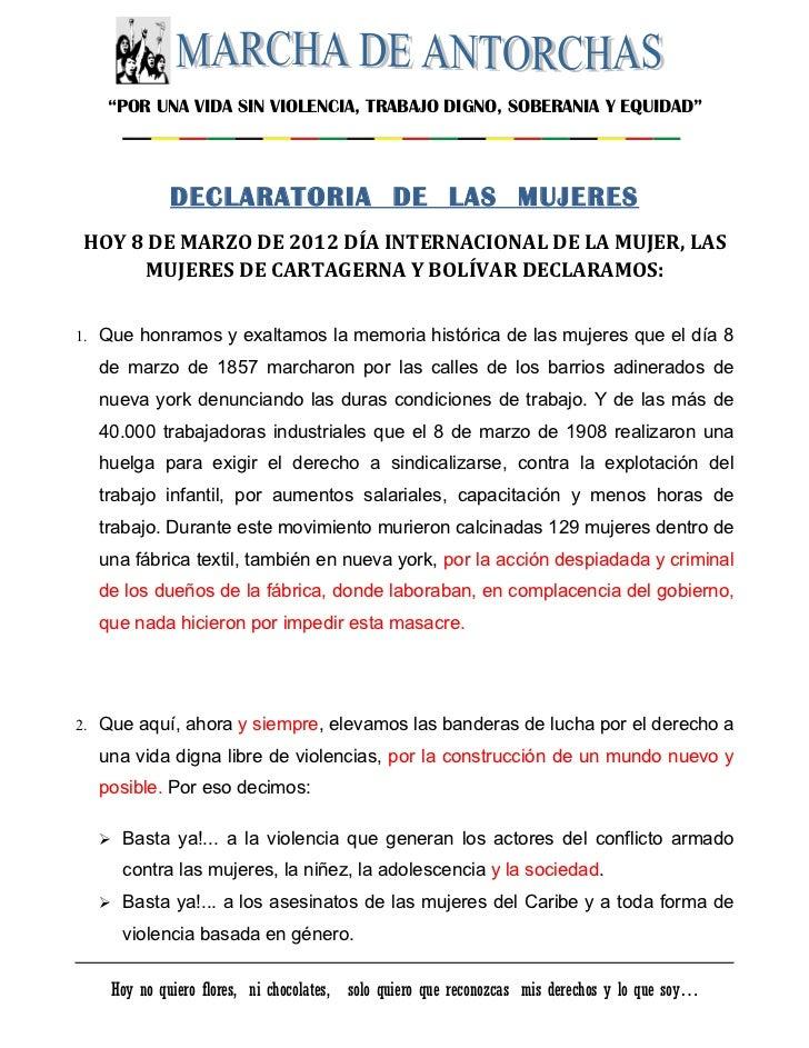 """""""POR UNA VIDA SIN VIOLENCIA, TRABAJO DIGNO, SOBERANIA Y EQUIDAD""""             DECLARATORIA DE LAS MUJERESHOY 8 DE MARZO DE ..."""