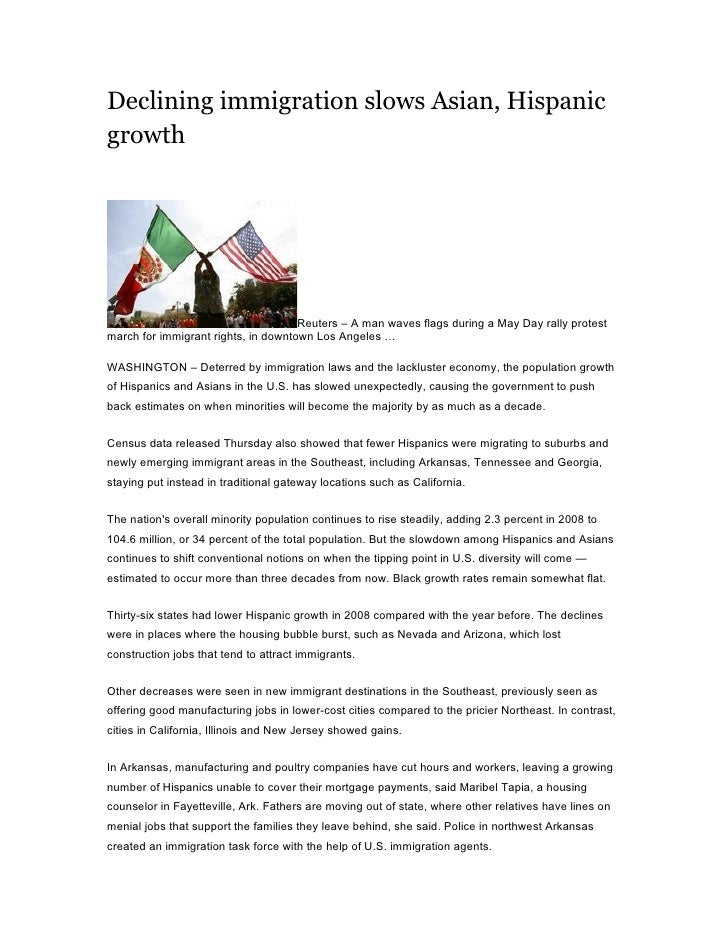 Declining immigration slows Asian, Hispanic growth                                          Reuters – A man waves flags du...